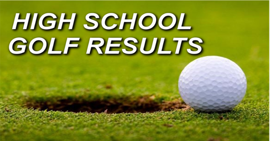 Golf ball next to a hole with the words High school golf results above.